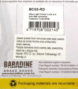 CENTER LOCK DO TARCZ HAM. BC-02 REDBaradine