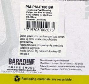 ADAPTER BARDINE NA PRZEDNI WIDELEC PM-PM-F180