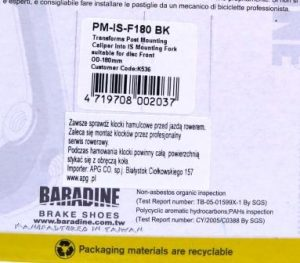 ADAPTER BARADINE NA PRZEDNI WIDELEC PM-IS-F180